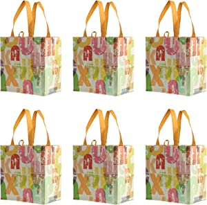 Earthwise Reusable Grocery Bags Shopping - Totes (Pack of 6) (Alphabet)