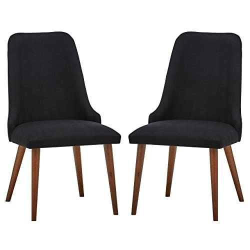 Rivet Federal Mid-Century Modern Wood Dining Room Kitchen Chairs, 36 Inch Height, Set of 2, Black