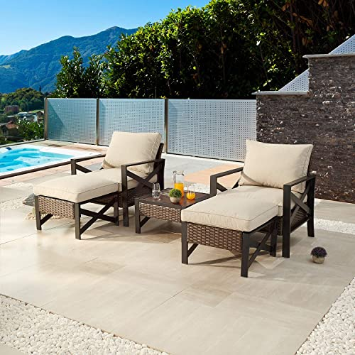 Festival Depot 5 Pieces Patio Outdoor Conversation Brown Wicker Rattan Chairs Cushions Ottomans Set Coffee Square Table Black Classic Metal Frame Furniture Garden Bistro Seating Thick Soft Cushion