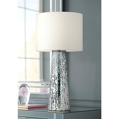 Marcus Modern Table Lamp Mercury Glass Column Shape White Drum Shade for Living Room Family Bedroom Bedside Nightstand – 360 Lighting
