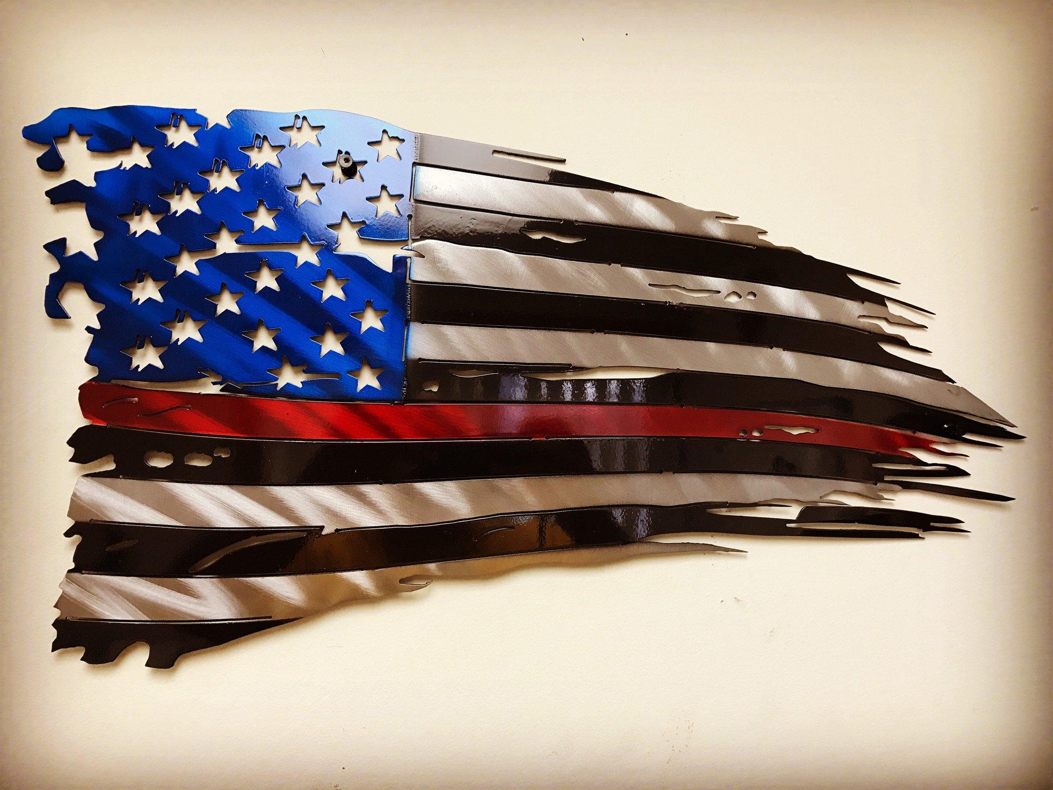 Metal Art of Wisconsin Firefighters Weathered Old Glory Painted American Flag Metal Art 2-Foot