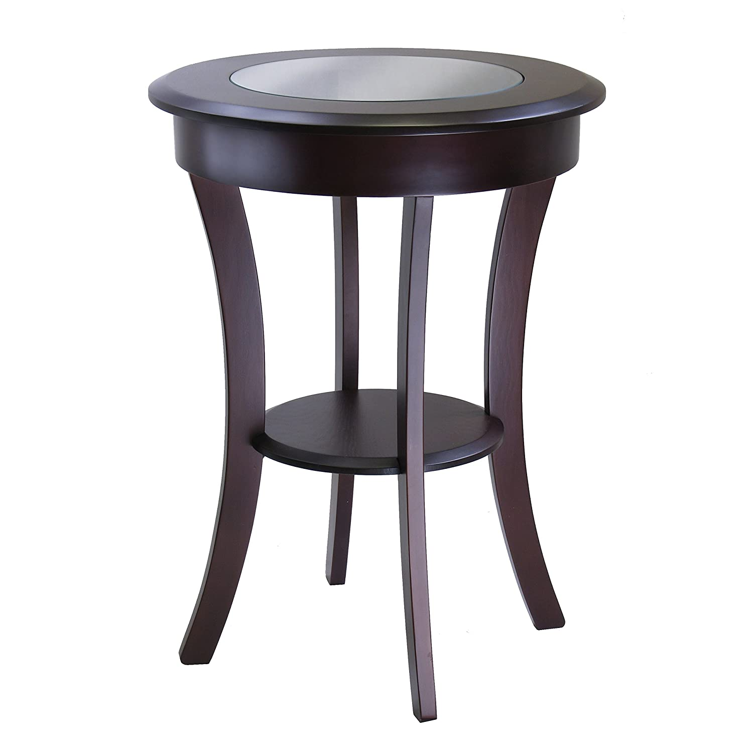 Amazon.com: Winsome Wood Cassie Accent Table With Glass Top, Cappuccino  Finish: Kitchen U0026 Dining