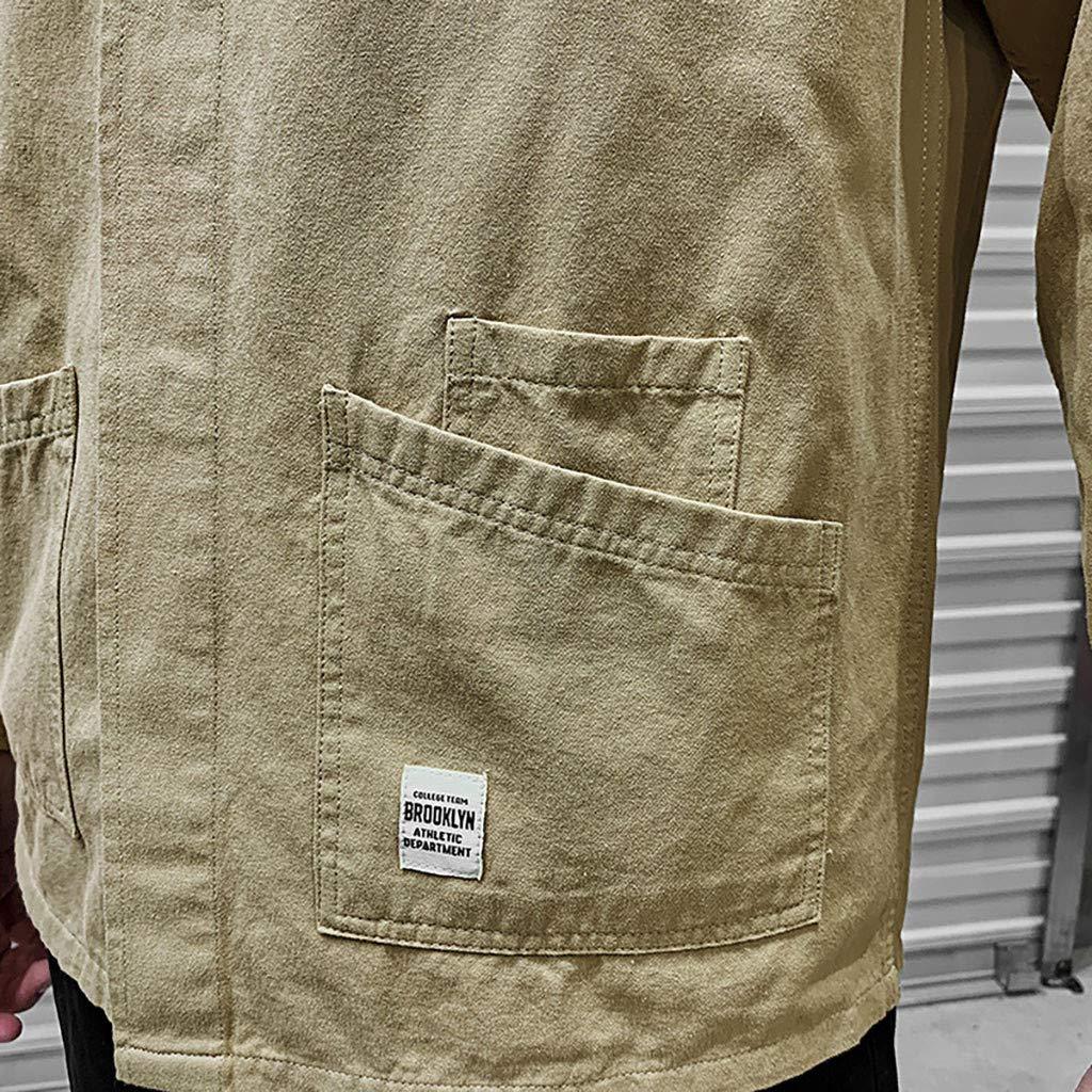 Hstore Mens Tooling Button Shirt Men Casual Pocket Workwear Letter Print Lapel Long Sleeve Tops