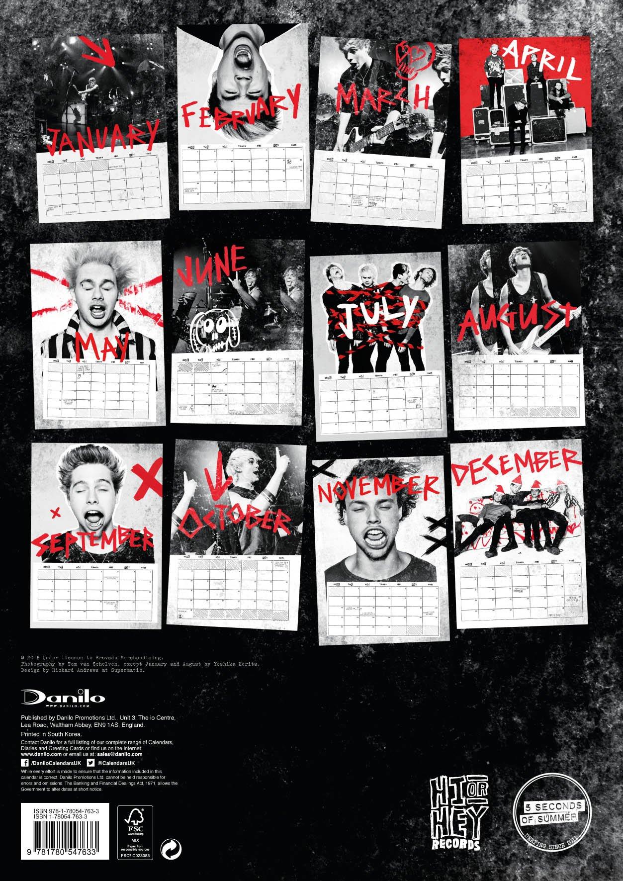 5sos poster design - The Official 5 Seconds Of Summer 2016 A3 Calendar Amazon Co Uk Danilo 9781780547633 Books