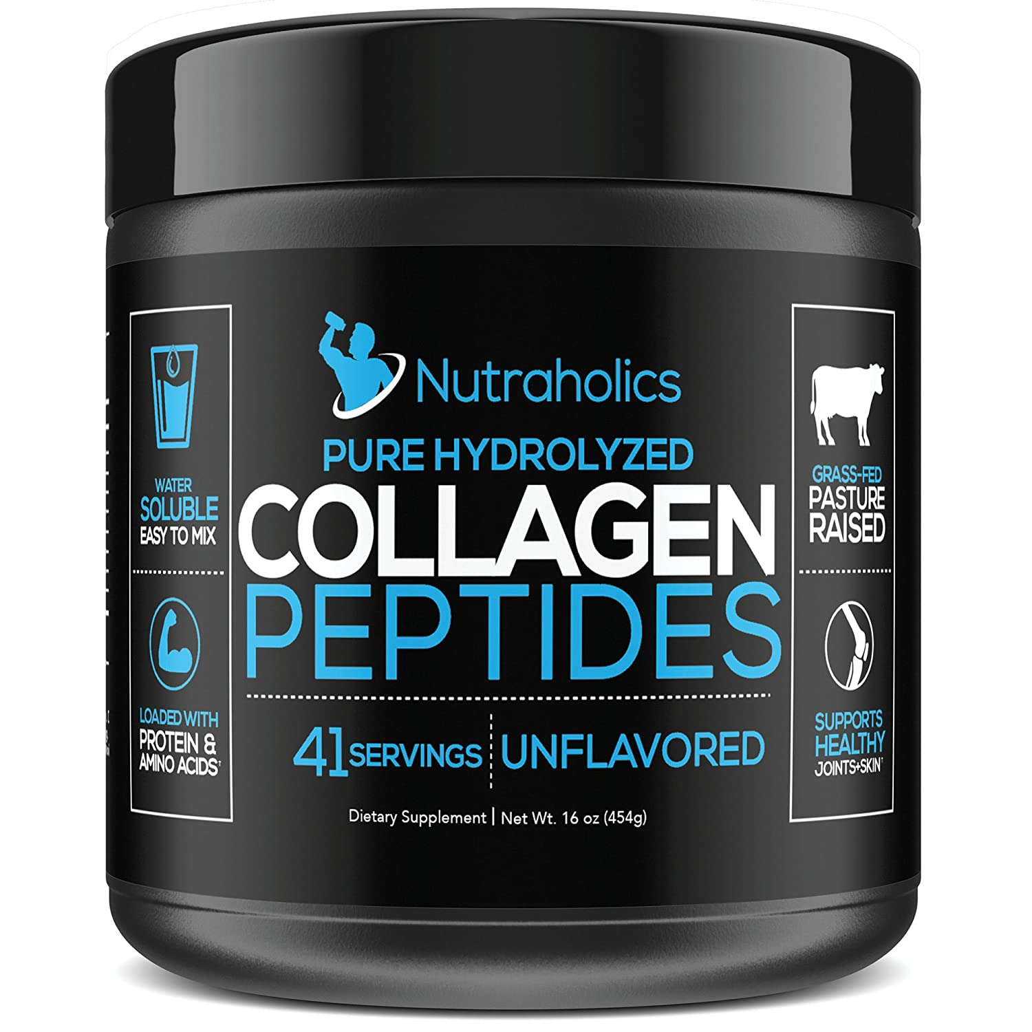 Collagen Peptides Hydrolyzed Protein Powder | Grass Fed Pasture Raised | Certified Paleo & Keto Friendly | 11 Grams per Serving | 16 OZ. Bottle | ...