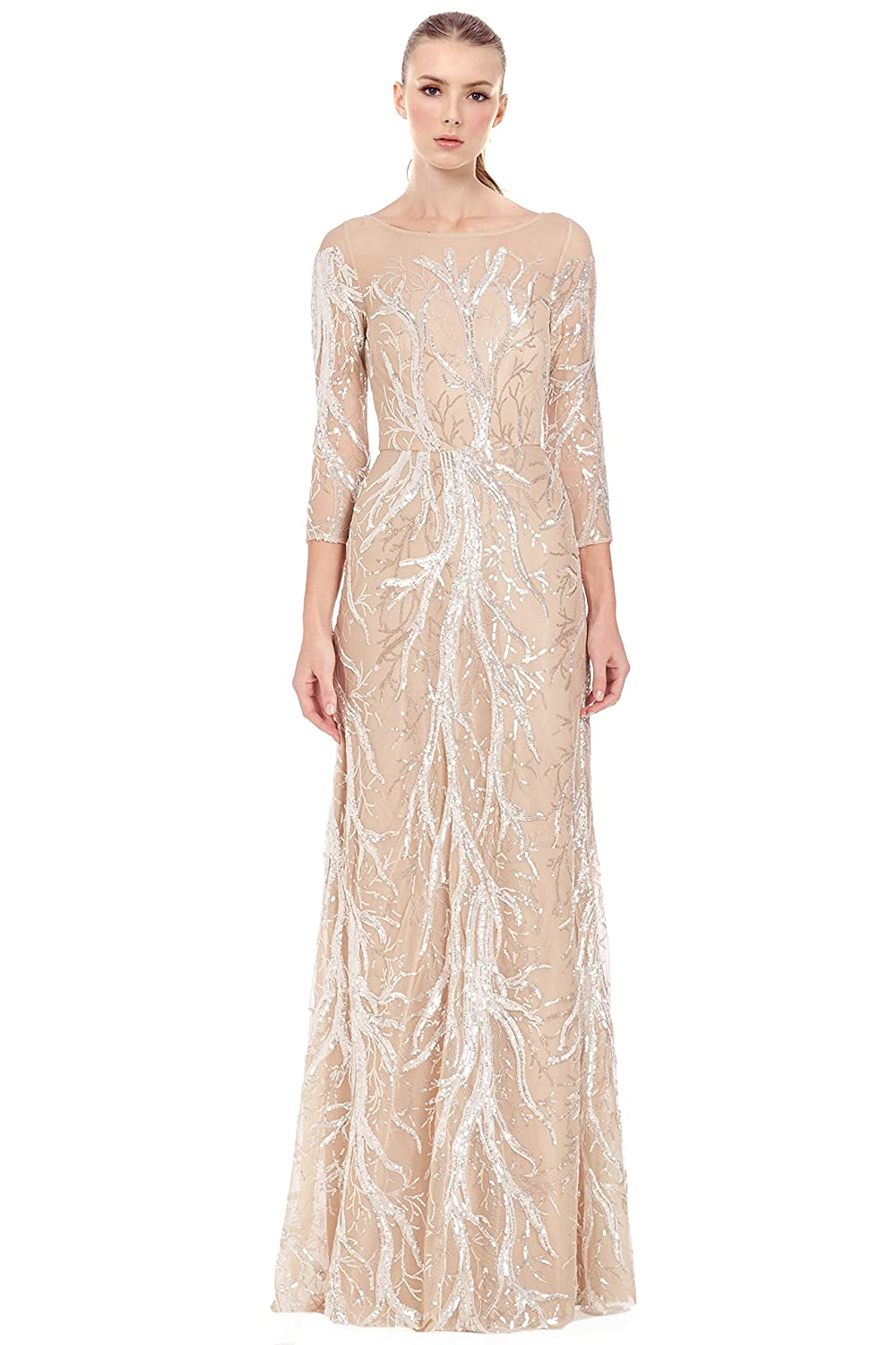 David Meister Embroidered Sequin 3/4 Sleeve Evening Ball ...