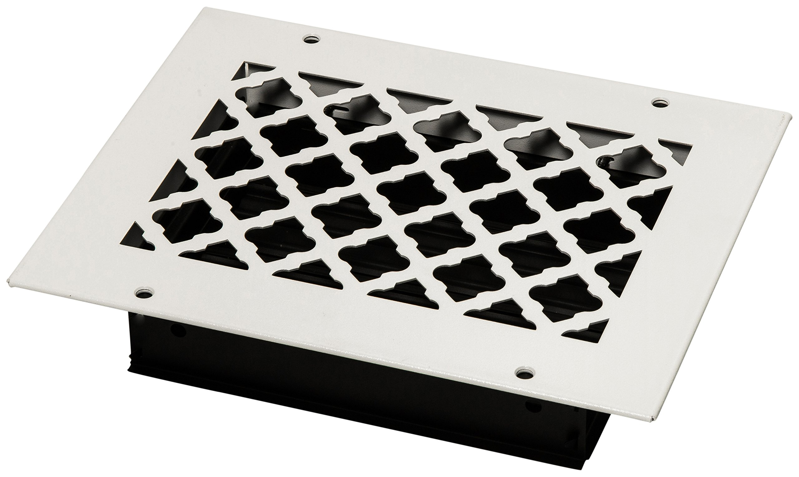 SteelCrest BTU8X6SWHH Bronze Series Designer Wall/Ceiling Vent Cover, with Air-Volume Damper, and Mounting Screws, White
