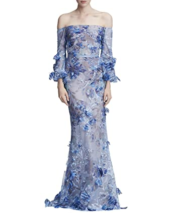 2d67c7cc Marchesa Notte Women's Off The Shoulder Embroidered Gown at Amazon Women's  Clothing store: