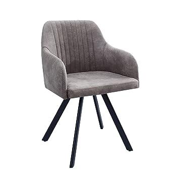 Exklusiver Design Stuhl LUCCA Taupe Grau Mit Edler Steppung Roadster  Armlehnenstuhl Esszimmerstuhl
