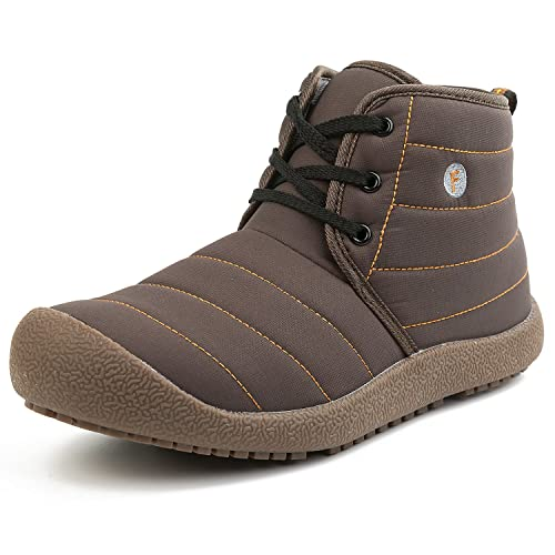 e388cf1ef2 L-RUN Women s Short Ankle Booties Warm Anti-Skid Spring Shoes Brown 6.5 M