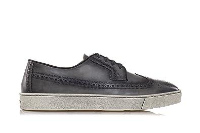 SANTONI Scarpe Washed Leather Derby Shoes 44 Uomo Grigio