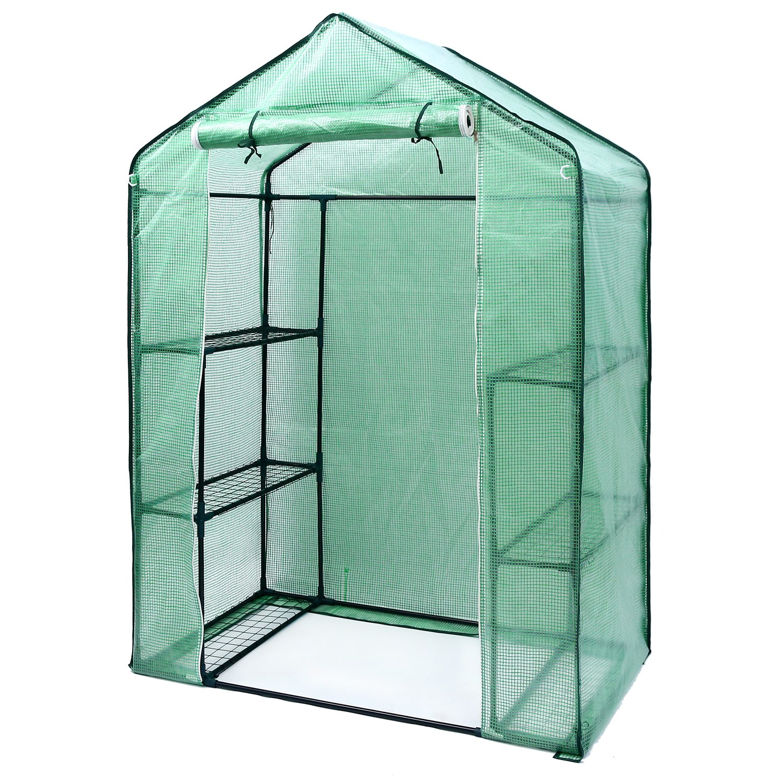 Ohuhu Small Walk-in Plants Greenhouse, 3-Tier 6-Shelf Stands Garden Green House, 4.9 x 2.4 x 6.4 FT, Green