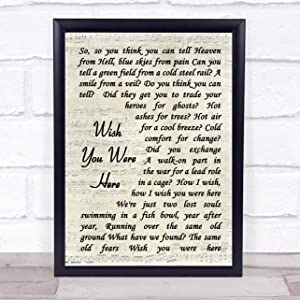 """123 BiiUYOO Pink Floyd Wish You were Here Song Lyric Vintage Script Print with Frame 14"""" x 11"""" Inches"""