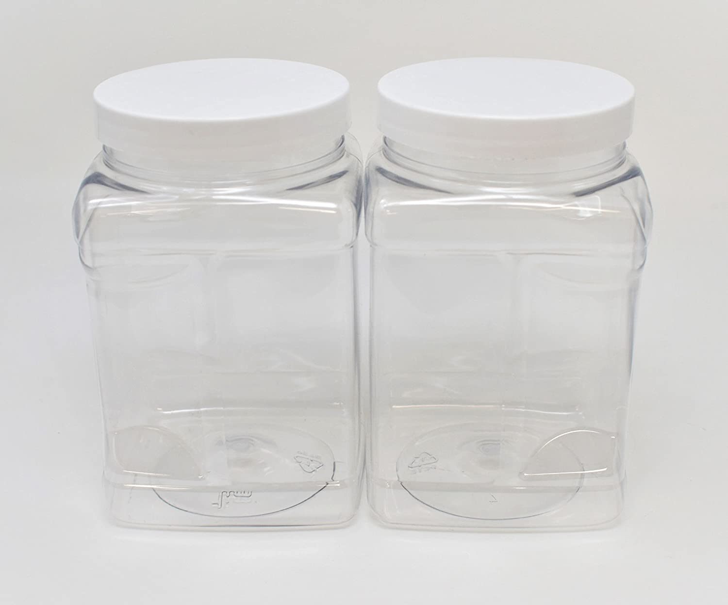 7c26cf1e3c7b SALUSWARE Plastic Clear Jars Bottles Containers - PACK OF 2, 32 Oz Airtight  Leak-proof Lids White Caps - Perfect for Kitchen, Pantry, Organizer - Food  ...