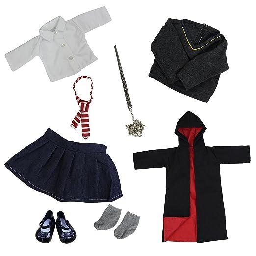 Amazon.es: ZITA ELEMENT 8 Piezas Magic escuela Uniform ropa muneca para 18 pulgadas muñecas American Girl y otros 45-46 cm muñecas - batas, zapatos, camisa, ...