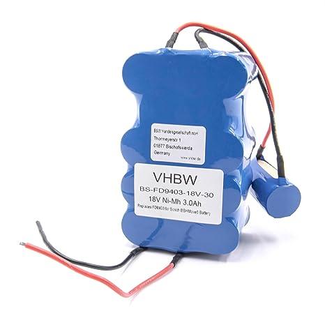 vhbw NiMH batería 3000mAh (18V) para aspiradora robot autónomo de limpieza Bosch BBHMove4,