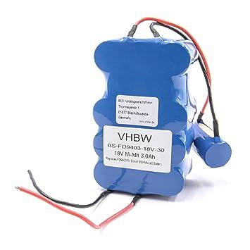 vhbw NiMH batería 3000mAh (18V) para aspiradora robot autónomo de limpieza Bosch BBHMove4, BBHMove6, BBHMOVE6/03