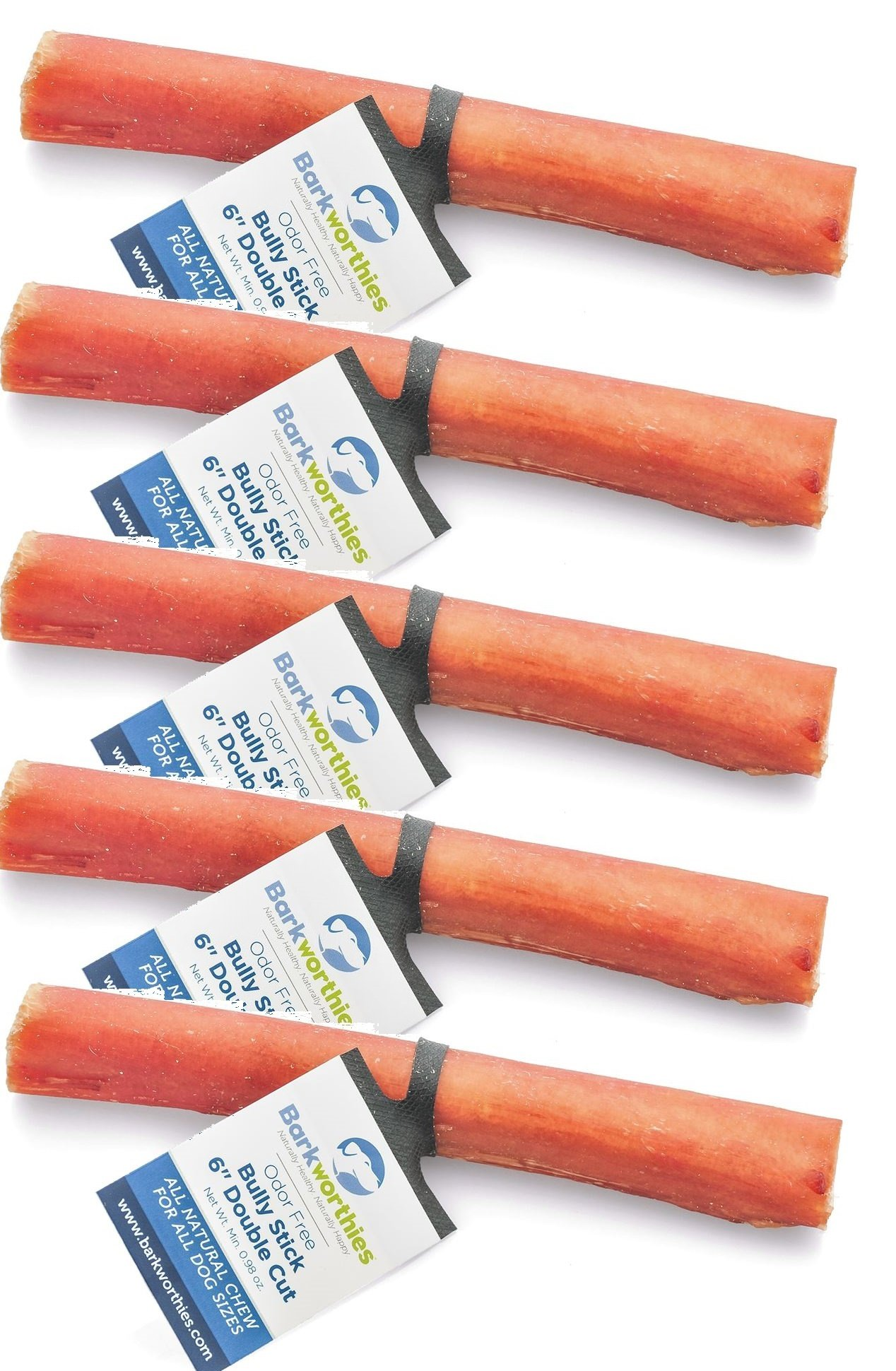 (5 Pack) Barkworthies Bully Stick Odor-Free Double Cut 6'' each