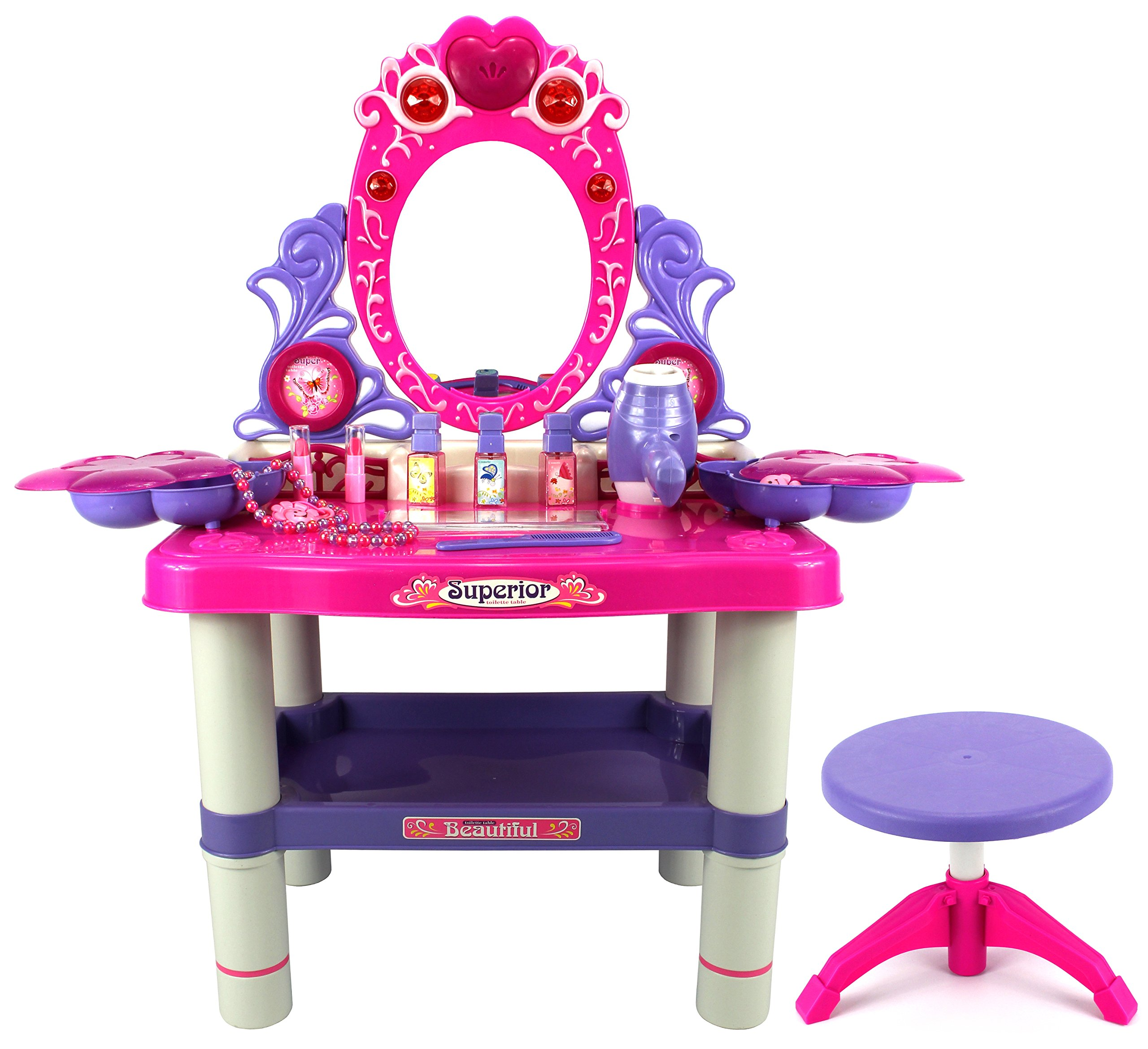 Velocity Toys Beauty Queen Dresser Pretend Play Battery Operated Toy Beauty Mirror Vanity Play Set w/ Flashing Lights, Music, Accessories by Velocity Toys