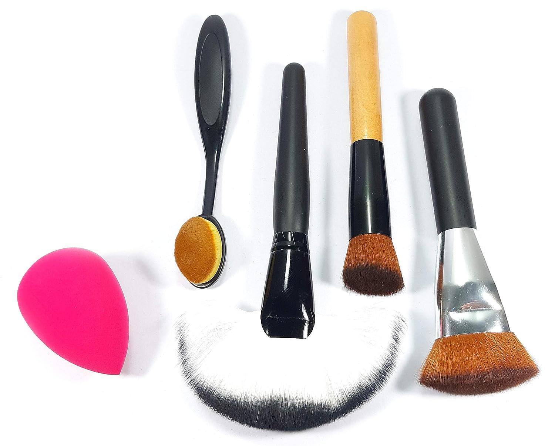 Amazon.com: 5 Pcs Best makeup brush fan set professional premium synthetic foundation beauty blender an brush angled blush brush.: Beauty