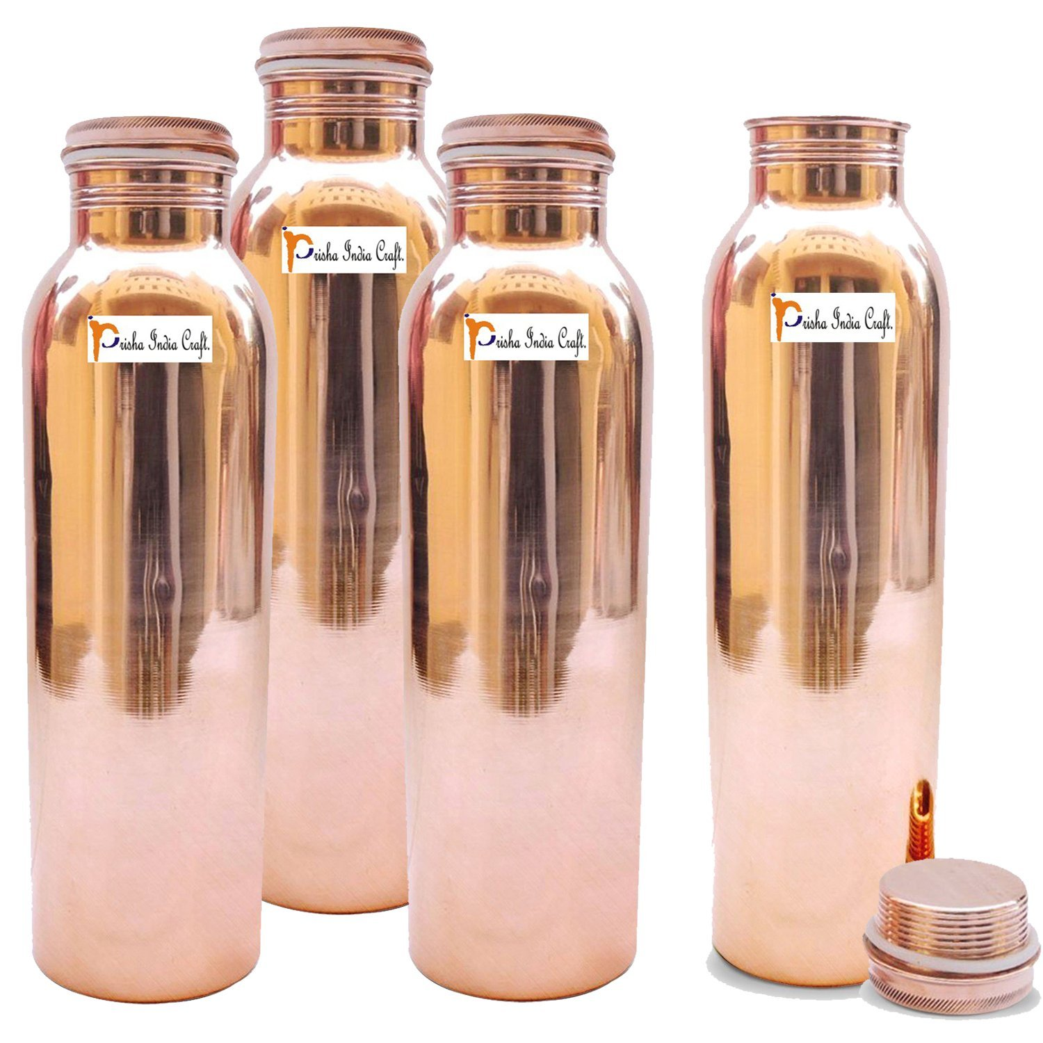 1150ml / 38.89oz - Set of 4 - Prisha India Craft Pure Copper Water Bottle for Health Benefits - Water Bottles Joint Free, Handmade - Christmas Gift