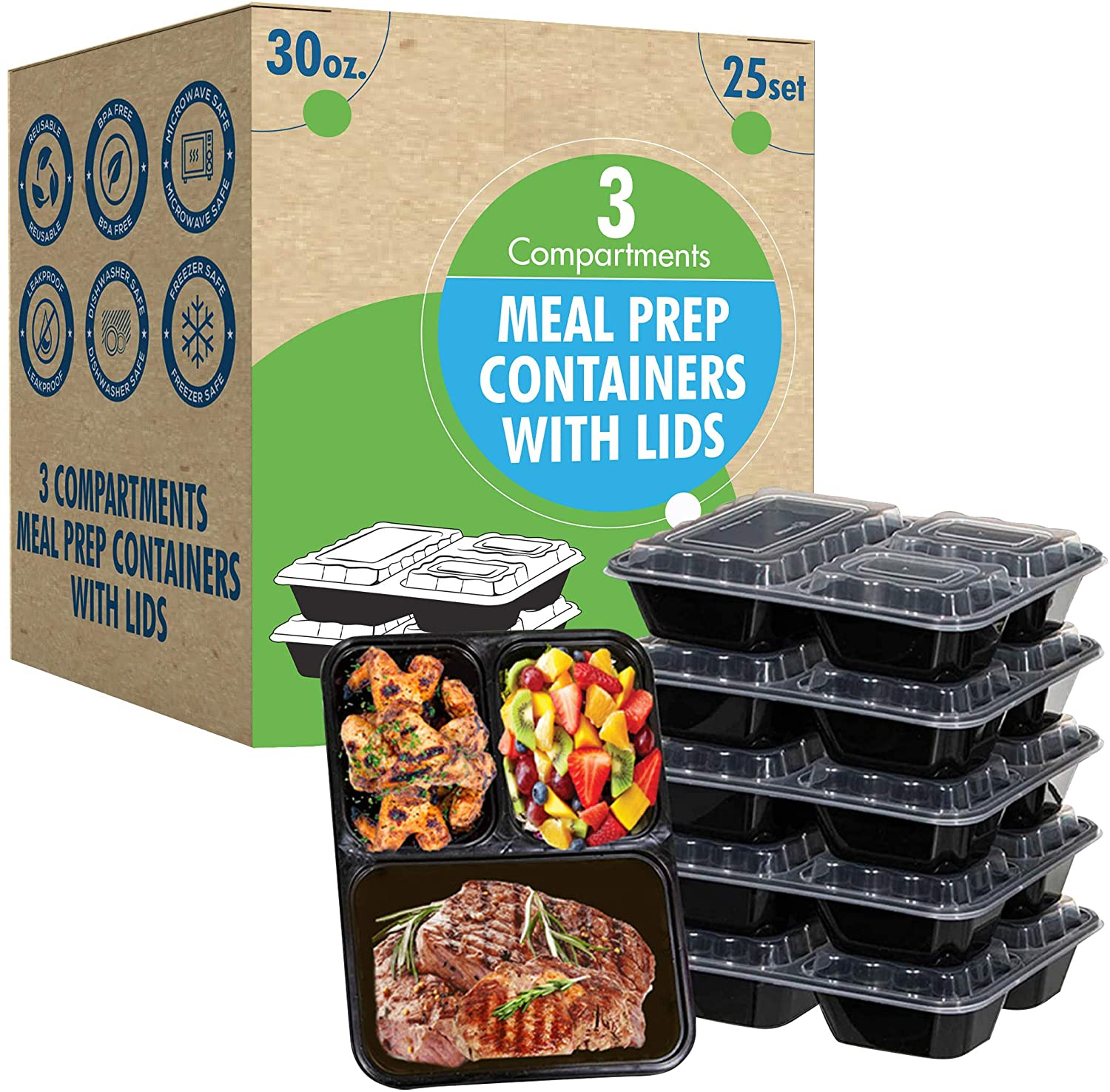 25 Sets [30oz 3 Compartment]. Prep Containers with Lids.Ideal-Lunch Containers, Food Prep Containers, Food Storage Bento Box, Portion Control | Stackable | Microwave | Dishwasher | Freezer Safe