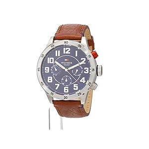 Reloj analógico de cuarzo para hombre Tommy Hilfiger Trent 1791066, correa de piel marrón. 6