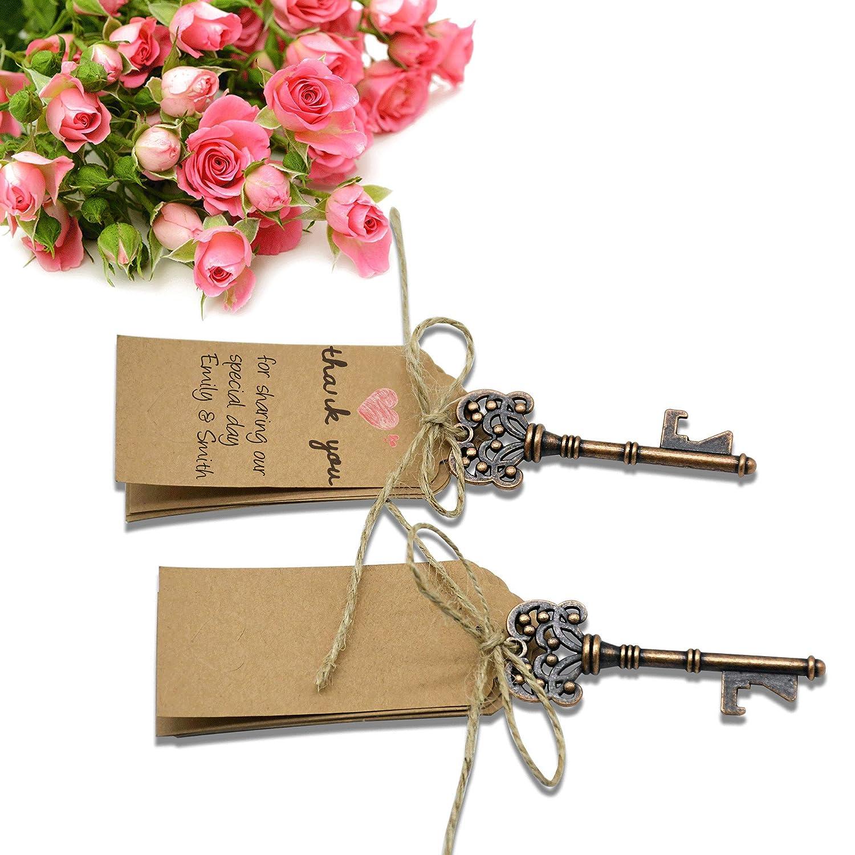 50 décapsuleurs en forme de clé YuQi, clés décoratives avec décapsuleur et avec carte d'identification pour mariage, fête, décoration rustique.