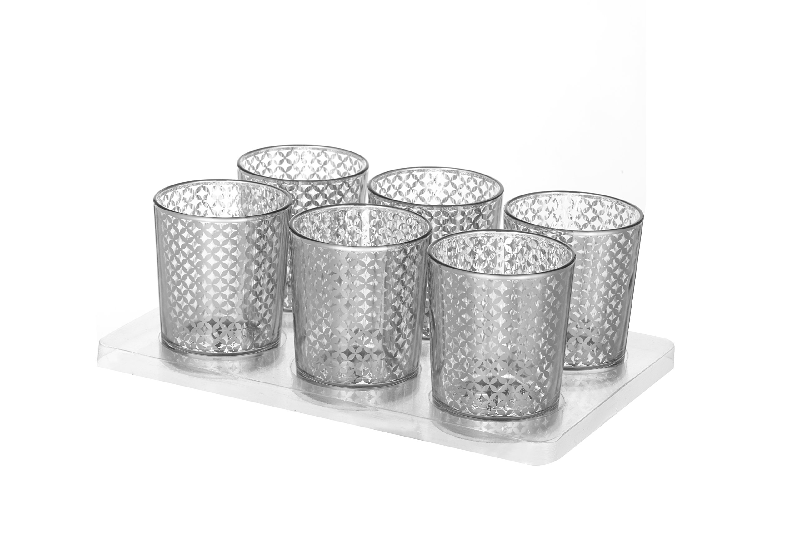 V-More Laser Cut Mercury Glass Votive Candle Holder Tealight Holder 2.55-inch Tall Set of 6 For Home Decor Wedding Party Celebration (Silver Lattice)