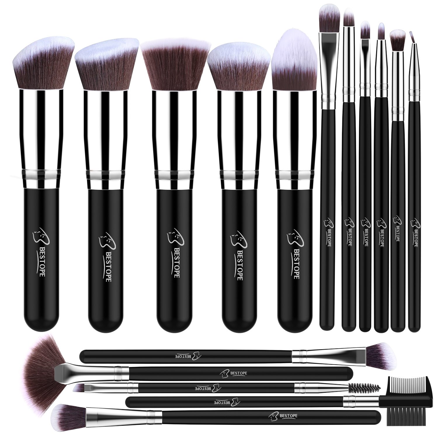 BESTOPE Makeup Brushes 16 PCs Makeup Brush Set Premium Synthetic Foundation Brush Blending Face Powder Blush Concealers Eye Shadows Make Up Brushes Kit (Sliver)