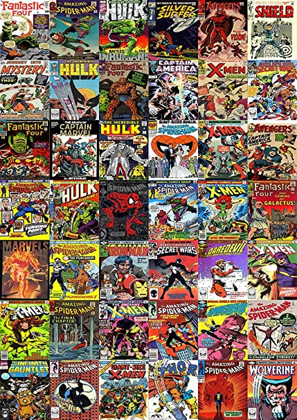Marvel Comic Covers Collage Mosaic A4 Poster The Avenger Iron Man Etc