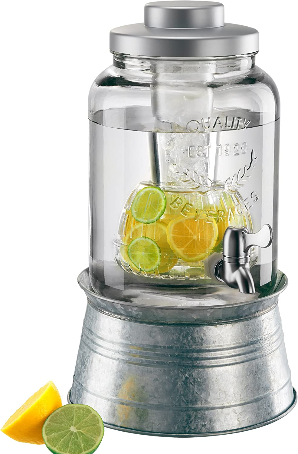 Artland Masonware Beverage Jar 2 Gal W Chiller Infuser Galvanized Stand Home D Cor Products Iced Beverage Dispensers