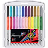BIC Intensity Permanent Fine Point Markers - Pack of 24 – Assorted Fashion Colours, Low Odour, Non Toxic, Snap Lock Cap, Non Slip Grip