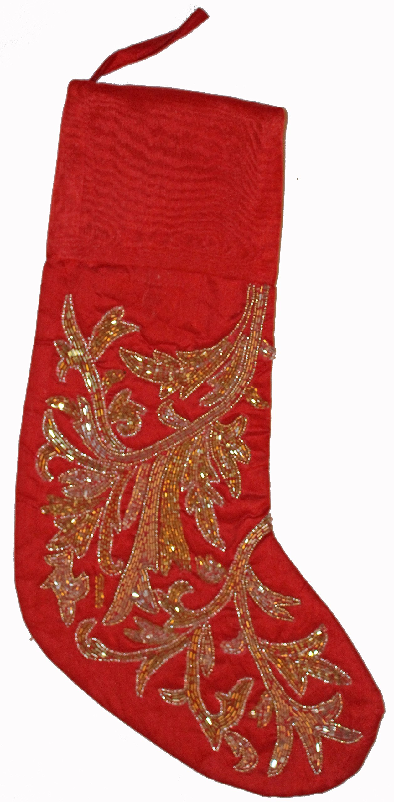 Nantucket Home Beaded Scroll Christmas Holiday Stocking, 21-Inch (Red)