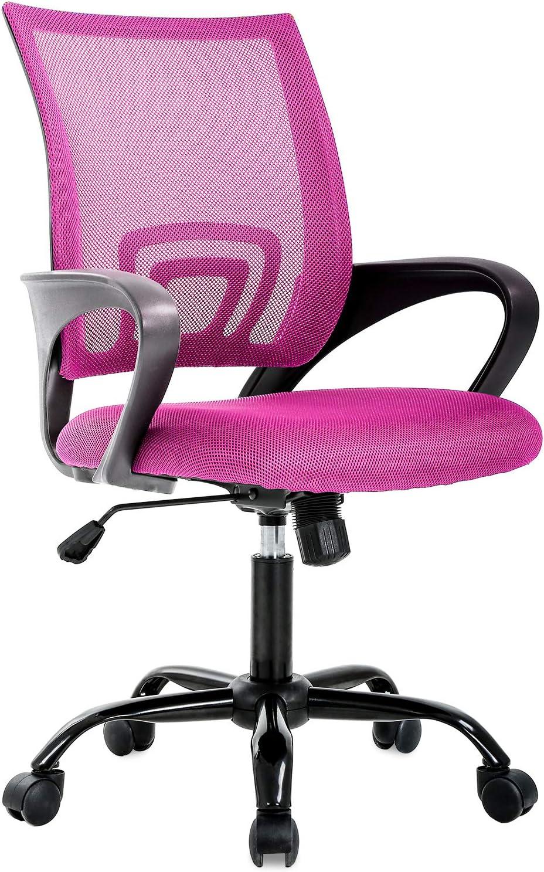 Ergonomic Office Chair Desk Chair Mesh Computer Chair Back Support Modern Executive Chair Task Rolling Swivel Chair for Women, Men(Pink)