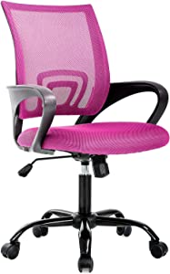 Ergonomic Office Chair Desk Chair Mesh Computer Chair Back Support Modern Executive Chair Task Rolling Swivel Chair for Women, Men(Pink)