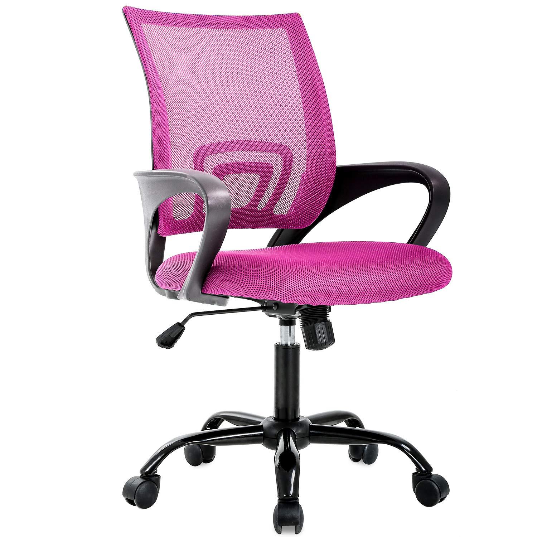 BestOffice Ergonomic Office Desk Mesh Computer Back Support Modern Executive Task Rolling Swivel Chair for Women, Men, Pink by BestOffice