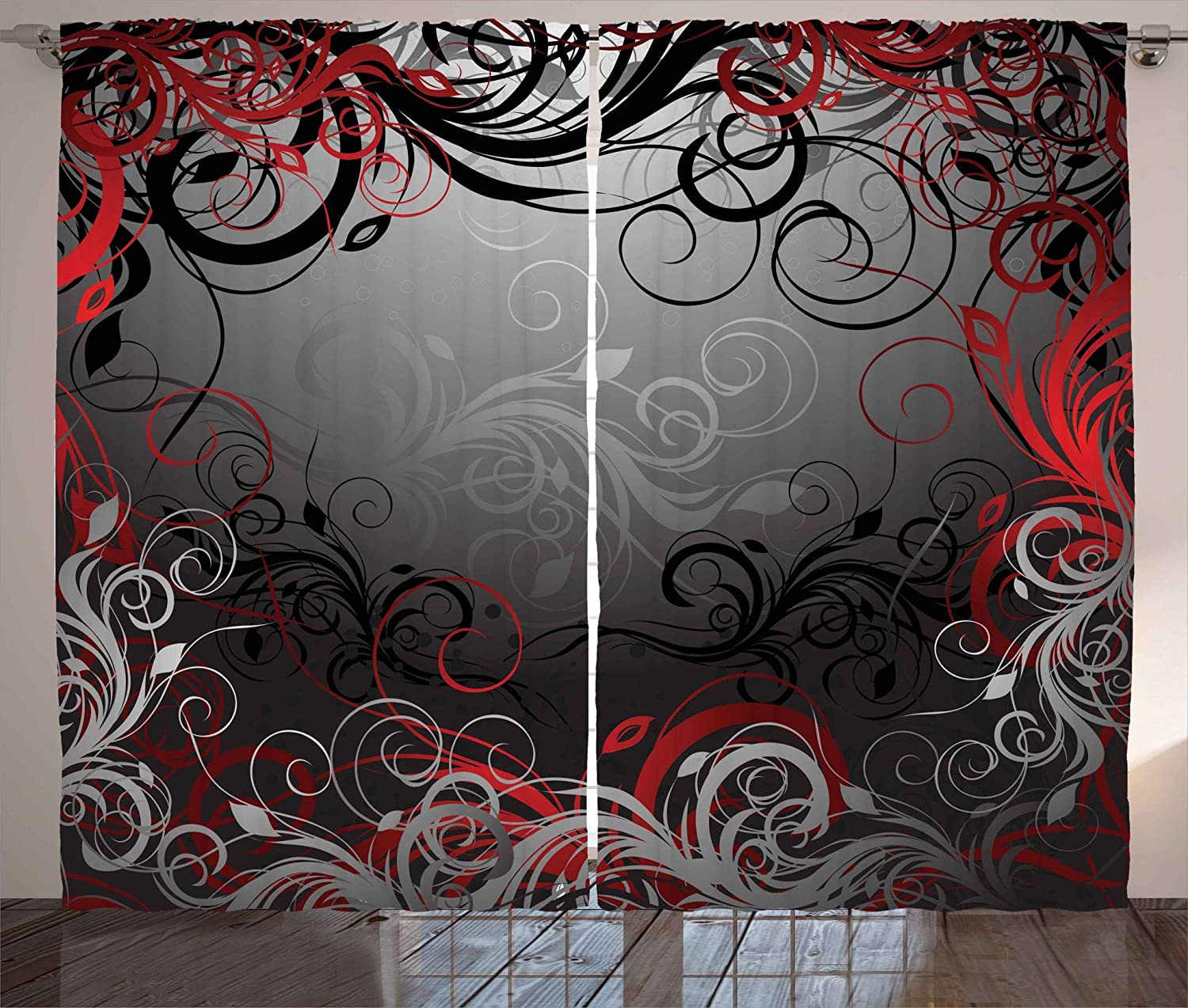 Ambesonne Abstract Curtains, Mystic Magical Forest Floral Swirls Leaves Nature Fading Ombre Effect, Living Room Bedroom Window Drapes 2 Panel Set, 108 W X 84 L Inches, Charcoal Grey Pale Ruby