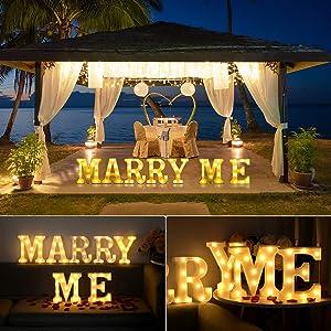 Gyunjux Marry ME Sign,LED Light Up Letter, Valentine Gift - Light Up Marry Me Sign with Warm White LEDs - Proposal Sign, Will You Marry Me Sign, Wedding Sign, Engagement Sign, Romantic Proposal