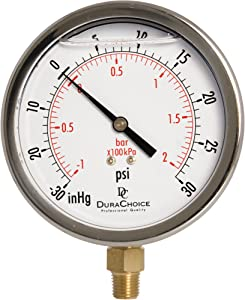 """4"""" Oil Filled Vacuum Pressure Gauge - Stainless Steel Case, Brass, 1/4"""" NPT, Lower Mount Connection -30HG/30PSI"""