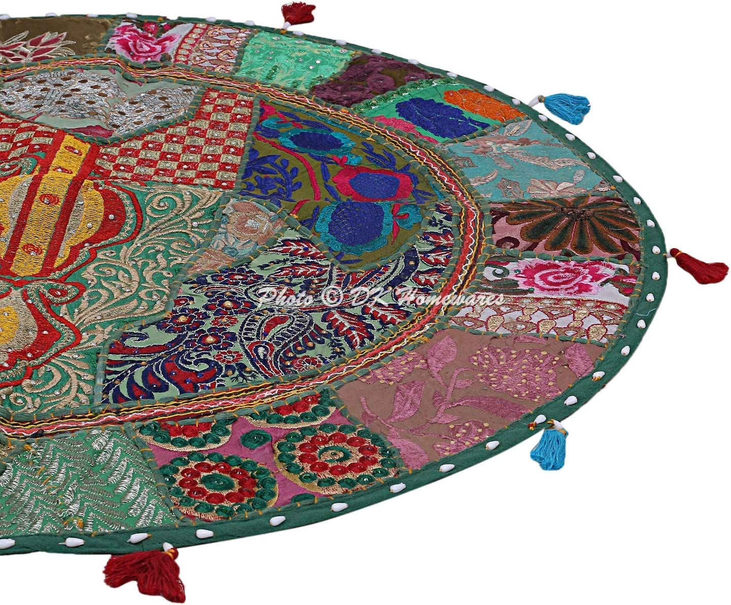 DK Homewares Round Traditional Floor Cushions Seating for Adults Dark Green 32 Inch Patchwork Living Room Pouf Ottoman Home Decor Embroidered Vintage Cotton Indian Floor Pillow Cover 80 cm