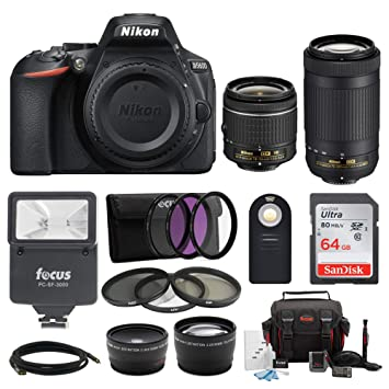 Nikon D5600 24 2MP DSLR Camera with 18-55mm and 70-300mm Lenses Bundled  with 64GB SD Card, Filters, and Accessories (9 Items)