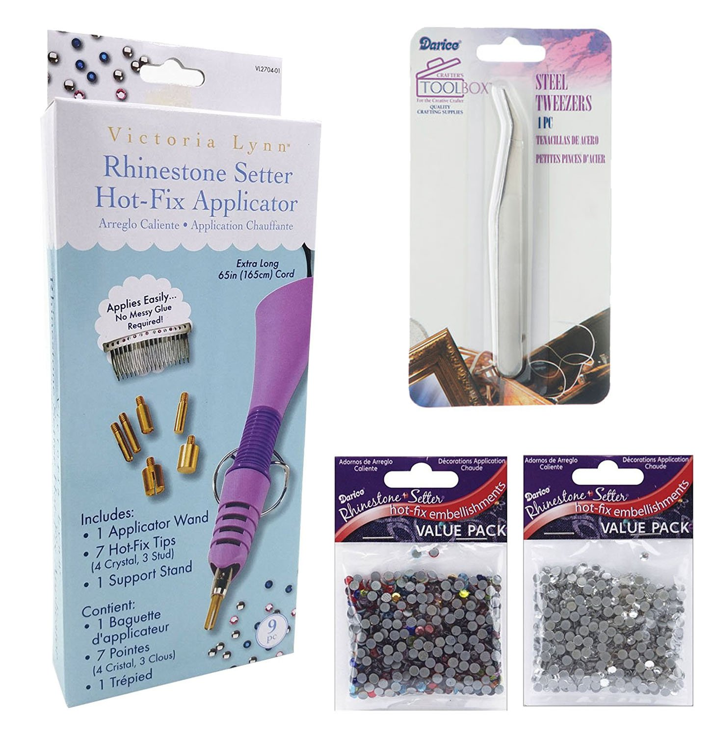 Rhinestone Hot-Fix Applicator Wand Kit: Setter Heat Bedazzler Tool with Tweezers, 750 Glass and Muticolor Stones. Darice 2704-01
