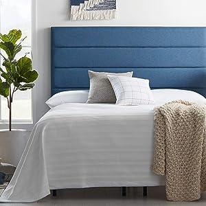 LUCID Modern Upholstered Horizontal Tufted Headboard, Twin/Twin XL, Cobalt