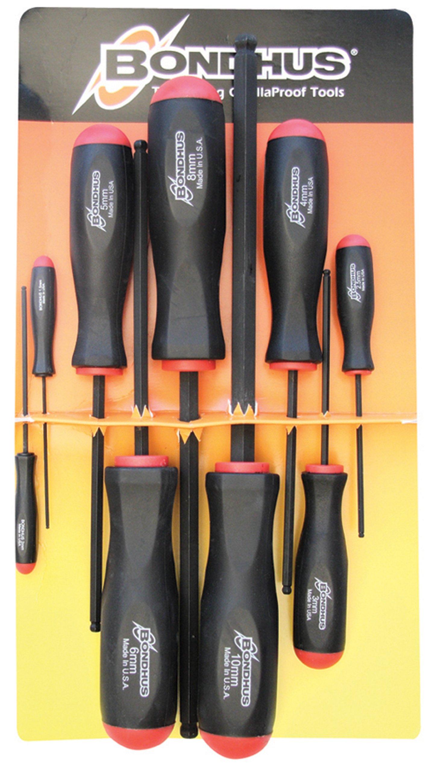 Bondhus 10699 Set of 9 Balldriver Screwdrivers, ProGuard Finish, sizes 1.5-10mm