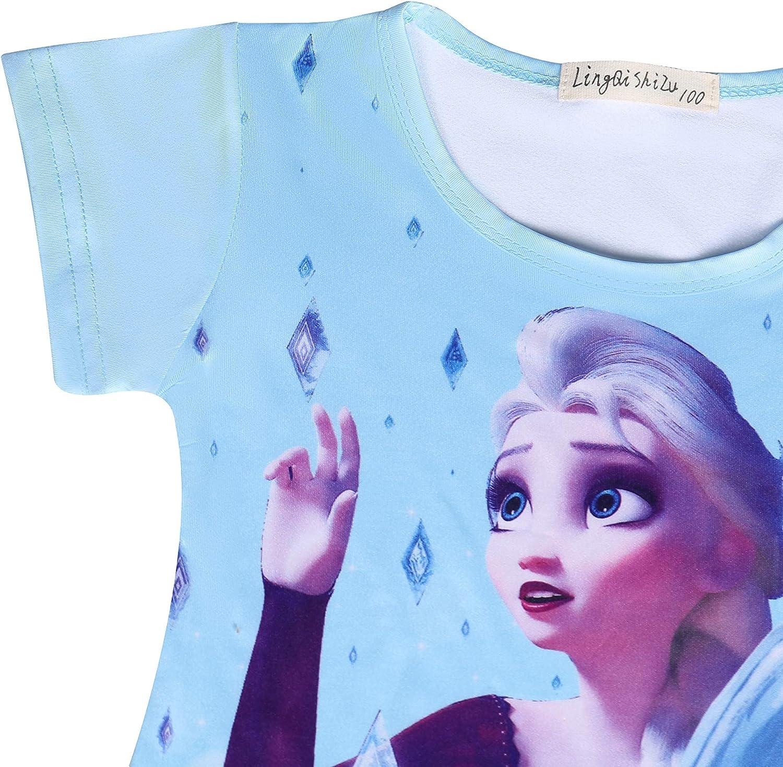 Girls Nighties Little Princess Nightgown Snow Queen Nightdress Short Sleeve Nightie for Girls 3-8 Years Size