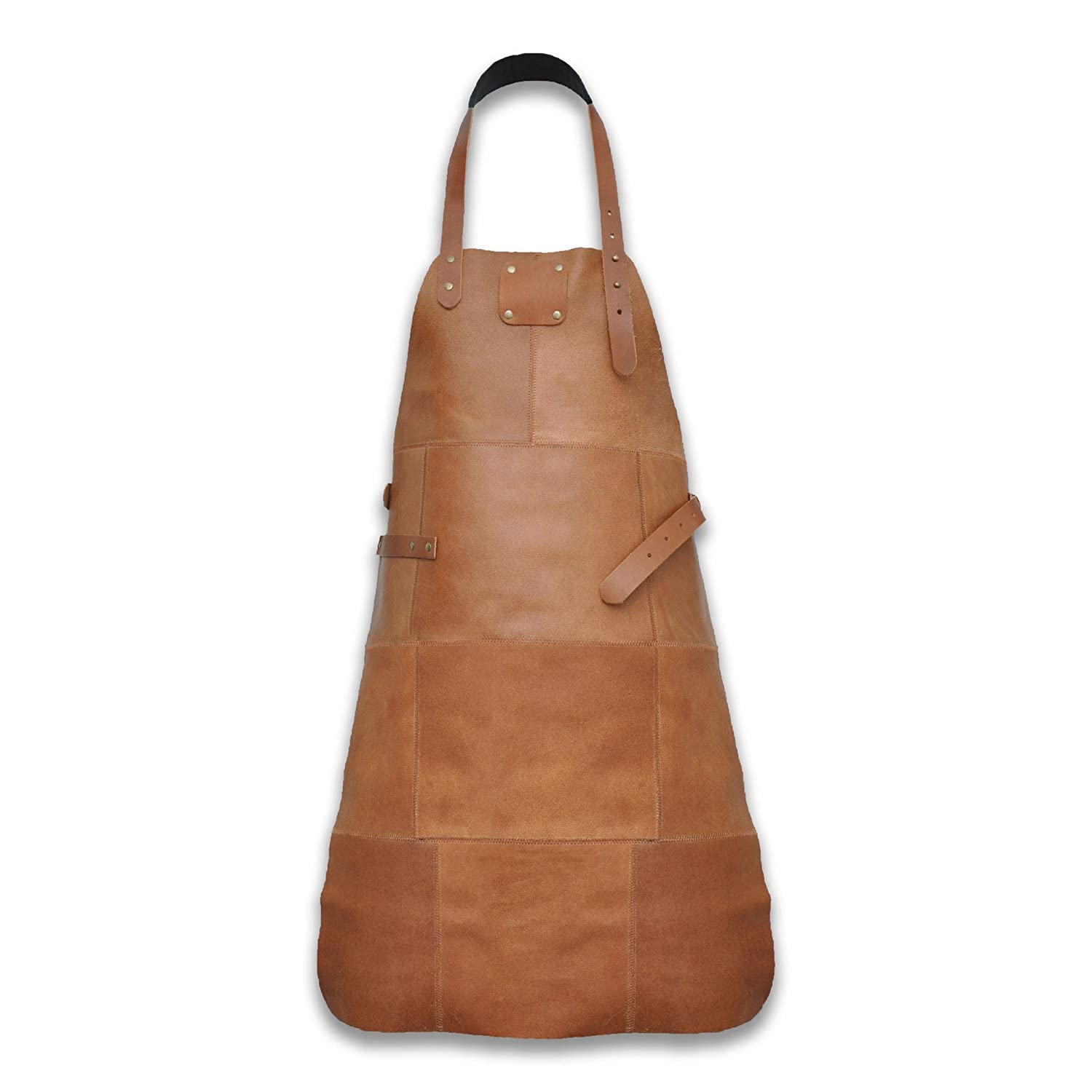 Five Grain Leather BBQ Apron Made From 100% Genuine High Quality Leather Adjustable Length 85cm, Cognac