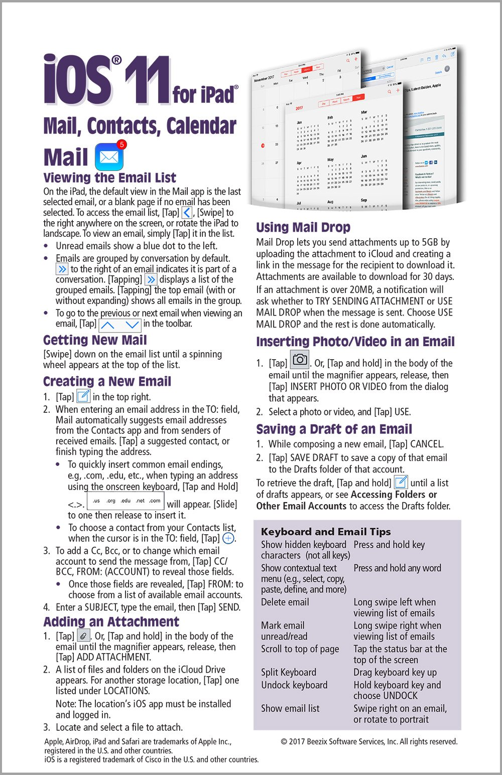 Read Online iOS 11 Mail, Contacts & Calendar Quick Reference Guide for iPad, iPhone, and iPod touch (Cheat Sheet of Instructions, Tips & Shortcuts - Laminated Guide) pdf epub