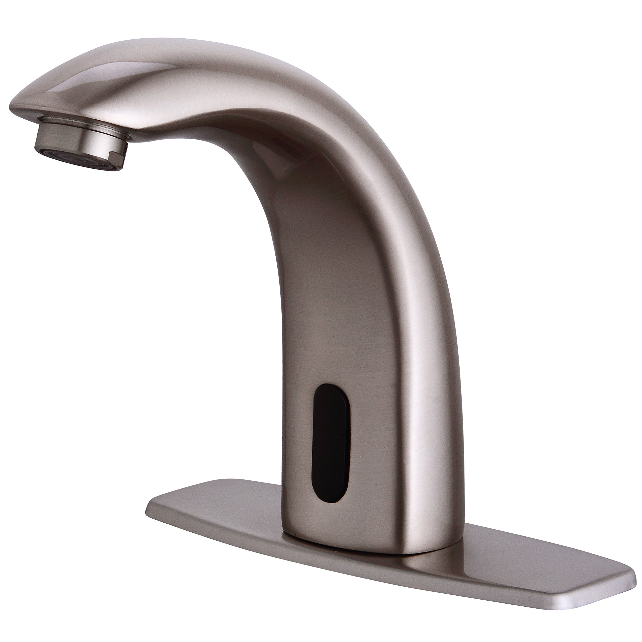 Fyeer Automatic Sensor Touchless Bathroom Sink Faucet with Hole Cover Deck Plate, Nickel Brush Finish, FN0103S