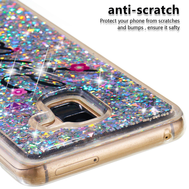 Miagon Fl/üssig H/ülle f/ür Samsung Galaxy A8 Plus 2018,Glitzer Weich Treibsand Handyh/ülle Glitter Quicksand Silikon TPU Bumper Schutzh/ülle Case Cover-Blume Schmetterling